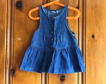 Vintage 3t denim dress, vintage toddler, vintage jean dress, vintage kids