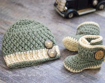 Crochet Baby Hat Pattern and Crochet Bootie Pattern, Baby Crochet Hat Pattern and Baby Booties Pattern, Crochet Patterns for Baby Boy