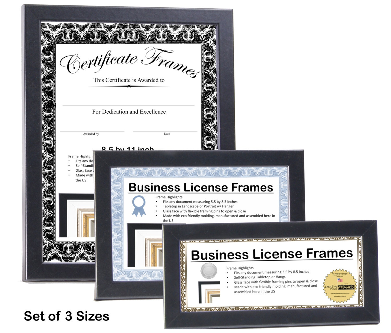 Black Business License Certificate Frames for Professionals 3.5 by ...