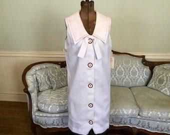 1960s Dress NWT / White Sleeveless Dress / Sailor Collar Dress  / Vintage Dress Sz 11