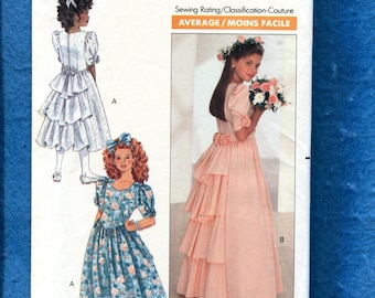1980's Butterick 4529 Flower Girl Dress with Tiered Ruffles Down the Back Size 12..14 GIRLS UNCUT