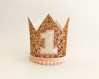 Rose Gold Glitter Crown | Birthday Crown |  Child Headband | Crown Headband | First Birthday Crown | Adult Crown