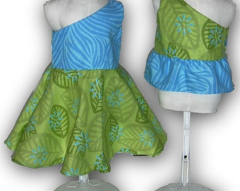 "Turquoise Lime Green One Shoulder Dress & Top 18"" Doll 2-piece Outfit w/ Invisible side zipper"