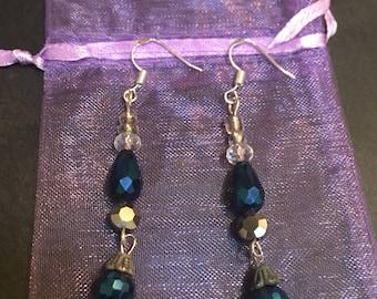 Blue danlge earrings
