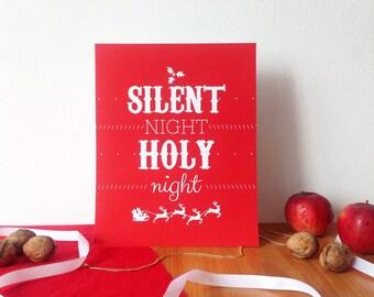 Silent Night, Christmas print, red Christmas print, Christmas wall decor, 8x10, red Chistmas modern print, wall art print, Holy Night