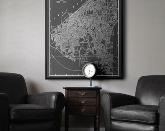 Cleveland Map Print poster : Black and white style vintage Cleveland Ohio map print 1901