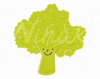 HAPPY BROCCOLI Clipart Illustration - 0024