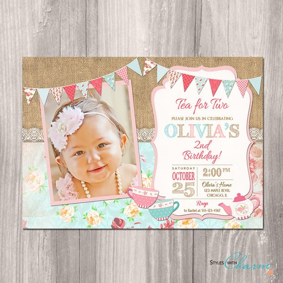 Tea For Two Party Package Birthday Invitation 2 Printables 2nd Printable