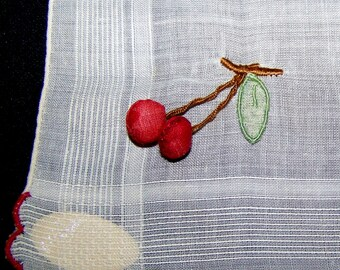 Collectible Vintage 3D Cherries Hanky Handkerchief NOS Morsly Made In Madeira Charming