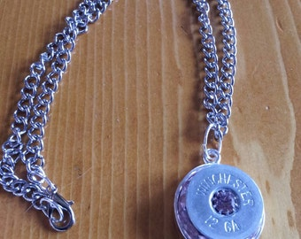 winchester 12g necklace with pink crystals