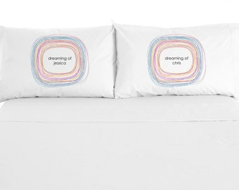 """Custom Printed """"Dreaming"""" Pillowcases, Valentine's Day Gift, Personalize with name, Set of 2"""