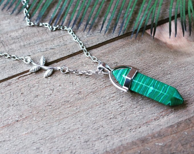 Handcrafted jewelry - Malachite pendant layering necklace with branch charm - healing necklace