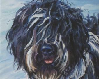 Schapendoes sheepdog dog art CANVAS print of LA Shepard painting 8x8