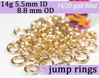 14g 5.5mm ID 8.8mm OD gold filled jump rings -- goldfill 14g5.50 jumprings 14k goldfilled