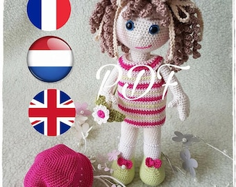 PDF knitting Pattern, pattern, tutorial, doll girl in Dutch and French
