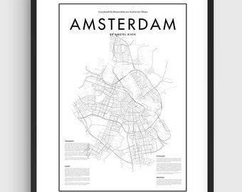 Minimal Amsterdam Map Poster, Black & White Minimal Print Poster, Art, Home Art, Minimal Graphics, Amsterdam Poster, Map Home Decor