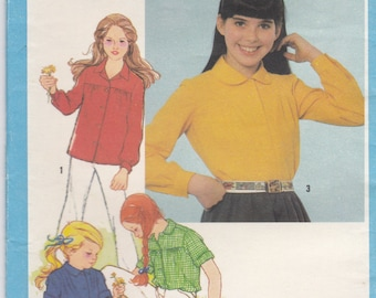1980s Simplicity Dress Pattern No 9564 for Girl's Shirts Size 12 (Bust 30 inches) Uncut, Factory Folded