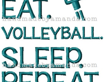 EAT Volleyball Sleep REPEAT Towel - Volleyball Sports Towel - Volleyball Team Gift