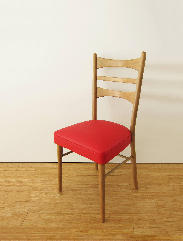 Silla Vintage Restaurada Y Retapizada En Ecopiel Rojo Espa A # Muebles Mocholi