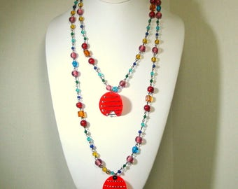SALE, Fun Red Party Color Necklace, By ME, Recycled Ecochic Lucite Plastic Pendants, 70s Rainbow Glass Chain, OOAK by Rachelle Starr
