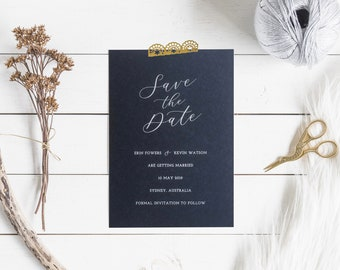 Navy Save the Date Cards | Printed Save the Dates with White Ink Printing on Navy Cardstock | Elegant Wedding Save the Date Cards
