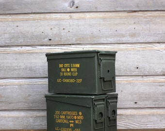 Vintage Industrial Ammunition Boxes -- Industrial Military Storage Box