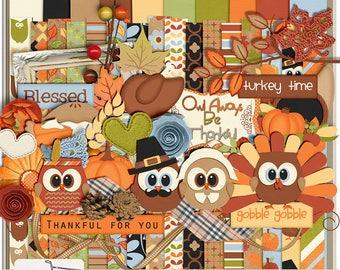 Owl Be Thankful Thanksgiving Digital Scrapbook Kit