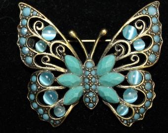 Vintage LIZ CLAIBORNE Blue Butterfly Brooch, Lapel Pin ! Marked LI !