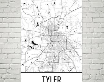Tyler Map, Tyler Art, Tyler Print, Tyler TX Poster, Tyler Wall Art, Tyler Gift, Map of Texas, Texas Poster, Texas Decor, Texas Art Print