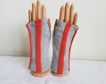 Sporty Fingerless Gloves in Gray and Orange Cashmere