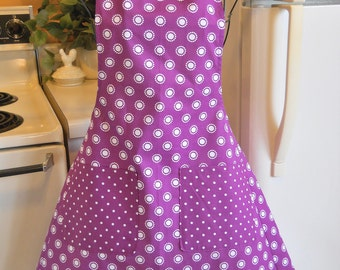 Women's Vintage Style Apron in Purple and White Polka Dots