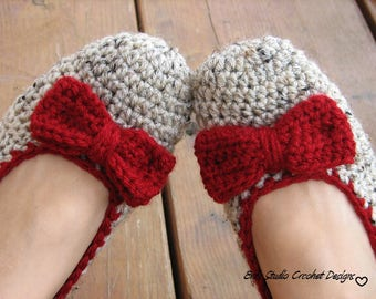 Extra Thick, Crochet Women Slippers  with Red Bow, Accessories, Adult Crochet Slippers, Home Shoes, Crochet Women Slippers