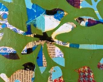 Birds of a Feather Mixed Media Collage Painting 'Lush Day'