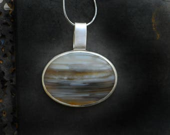 Ocean Agate Necklace, Minimalist Gemstone Pendant, Banded Agate, Waterline Agate, Large Focal Pendant, Wanderlust Necklace, Graduation Gift