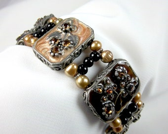 Cuff Bracelet, Resin, Floral Bezels, Golden Freshwater Pearls, Memory Wire, Toggle Clasp