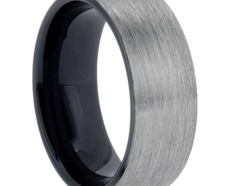 Tungsten Carbide Brushed Finish black inlay wedding band ,Comfort fit