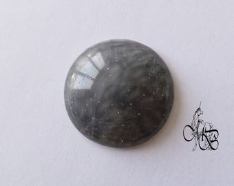 """Cabochon 30 mm polymer clay """"iridescent gray"""" #3"""