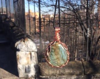 Labradorite woven necklace