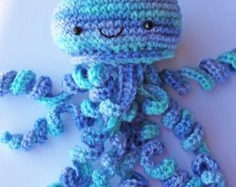 Colorful playful Jellyfish stuffed blues lavender turquoiseCrochet
