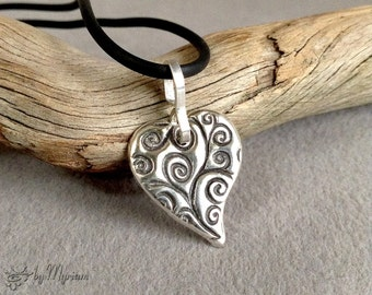Spirals on Heart : textured fine silver heart pendant with sterling silver bail