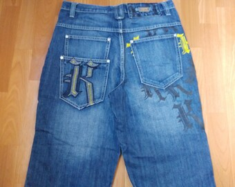 KARL KANI jeans, blue vintage baggy Kani jeans, loose pants, 90s hip-hop clothing, old school 1990s hip hop, OG, gangsta rap, size W 32