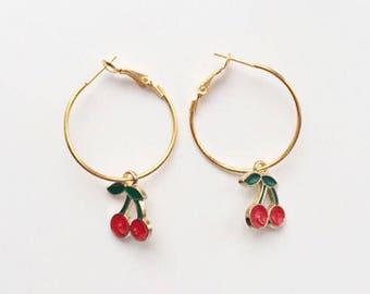 Gold Cherry Hoop Earrings