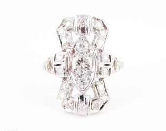 Art Deco Diamond Cocktail Ring, Elongated Geometric Shape 1930s Diamond Dinner Ring, 0.54 ctw, Platinum.