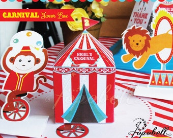 Circus Favor Box for Circus Birthday Party. Carnival Favor Box for Carnival Birthday. DIY Big Top Treat Box PRINTABLES for Circus Party
