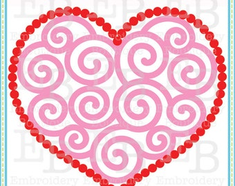 Dotted Swirly Heart SVG - This design is to be used on an electronic cutting machine. Instant Download