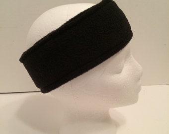 Black fleece ear warmer, fleece headband