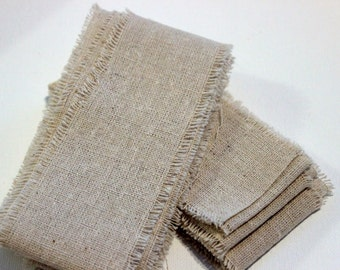 Natural Frayed Rustic Linen Two Inch Ribbon- 2 Yards for packaging, artwork, collage, assemblage