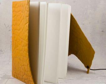 Orange leather journal, embossed sketchbook, unique notebook A6 travel journal