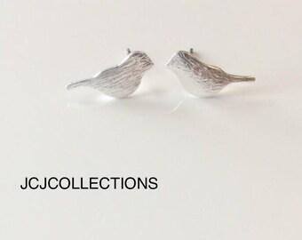 SALE... Tiny Silver Bird Stud Earrings