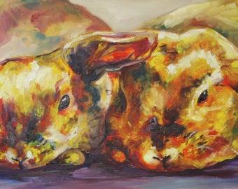 Rabbits Oil Painting  Print